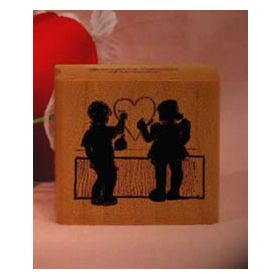 Shadow Boy and Girl with Heart Art Rubber Stamp