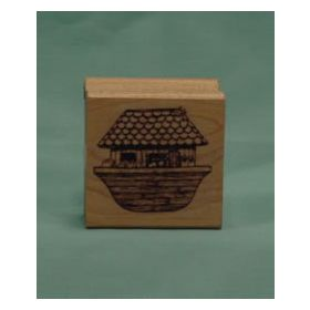 Wide Noah's Ark Art Rubber Stamp