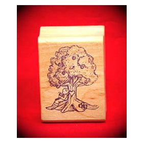 Bear under Tree Art Rubber Stamp