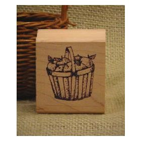 Slat Basket of Apples Rubber Stamp