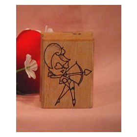 Girl with Bow and Arrow Art Rubber Stamp