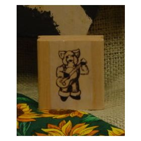Pig Playing Banjo Art Rubber Stamp