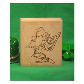 Leprechaun with Harp Art Rubber Stamp