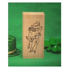 Leprechaun with Glasses Art Rubber Stamp