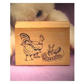 Chickens with Bunny in Egg Art Rubber Stamp