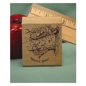 Neatly, Please Art Rubber Stamp