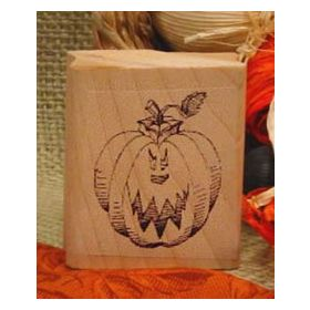 Pumpkin with Scary Face Art Rubber Stamp