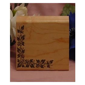 Semi-Solid Leaf Corner Pattern Art Rubber Stamp