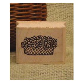 Small Basket of Flowers Art Rubber Stamp