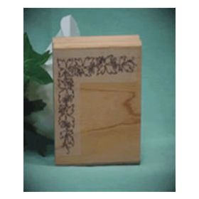 Left Single Flower Border Art Rubber Stamp