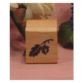 Solid with Leaf Art Rubber Stamp