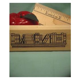 Large Books on Shelf Border Art Rubber Stamp