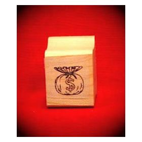Bag of Money Art Rubber Stamp