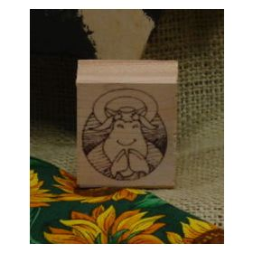 Cow Praying Art Rubber Stamp