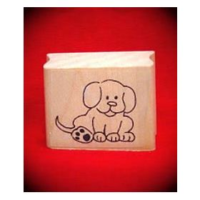 Sitting Puppy Art Rubber Stamp