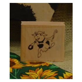Dancing Cow Art Rubber Stamp 2