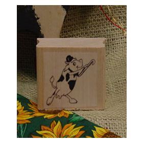 Dancing Cow Art Rubber Stamp 3