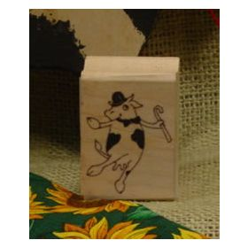 Dancing Cow Art Rubber Stamp 4