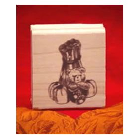 Bear with Corn Stalk Art Rubber Stamp