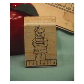 Bear with Ruler Art Rubber Stamp