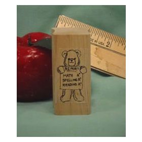 Bear with Report Card Art Rubber Stamp