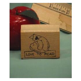 Love to Read Bear Art Rubber Stamp