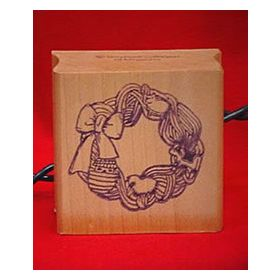 Yarn Wreath Art Rubber Stamp