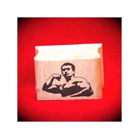 Muscle Man Art Rubber Stamp