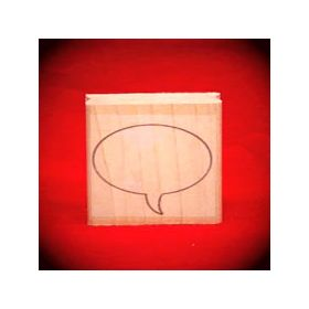Large Left Thought Balloon Oval Art Rubber Stamp