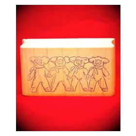 4 Linked Pigs Art Rubber Stamp