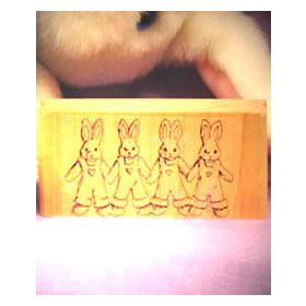 4 Linked Bunnies Art Rubber Stamp