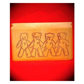 4 Linked Bears Art Rubber Stamp