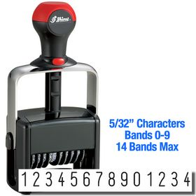 14 Wheel Shiny Heavy Duty Self Inking Number Stamp 5/32 Characters