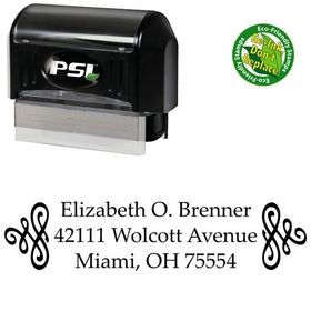 Pre-Inked Scroll Palatino Customized Address Ink Stamp