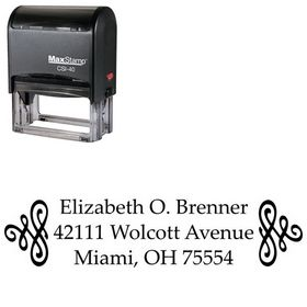 Self Inking Scroll Palatino Customized Address Ink Stamp