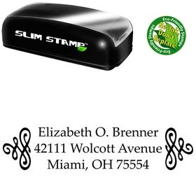 Slim Pre-Inked Scroll Palatino Customized Address Ink Stamp