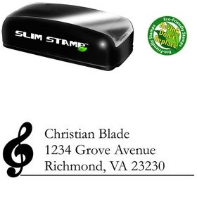Compact Music Garamond Customized Address Stamp
