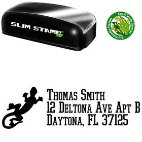 Slim Pre-Inked Gecko College Boy Customized Address Stamp