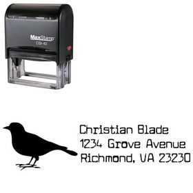Self-Inking Bird Cuomotype Address Rubber Stamp