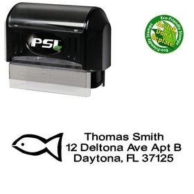 Pre-Ink Fish Crossdraft Creative Address Rubber Stamp