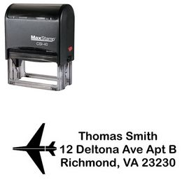 Self Stamping Airplane Arial Rounded Custom Address Stamp