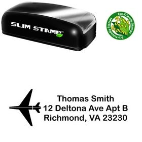 Slim Pre-Inked Airplane Arial Rounded Custom Address Stamp