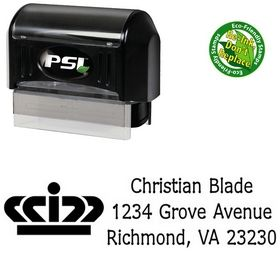 PSI Pre-Inked Crown Drummon Narrow Custom Address Stamper
