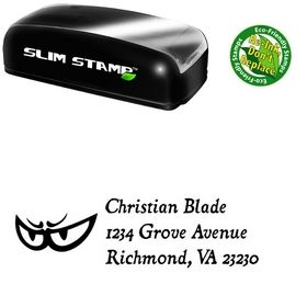 Slim Pre-Ink Eyes Dominican Monogrammed Address Stamper
