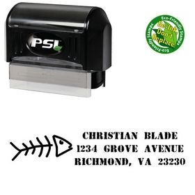 PSI Pre-Ink Fish Bones Address Rubber Stamp