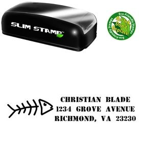 Slim Fish Bones Address Rubber Stamp