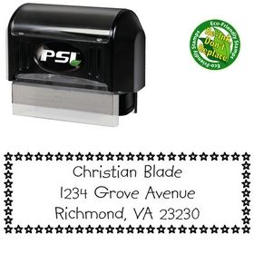 Pre-Inked Stars Kidprint Customized Address Rubber Stamp