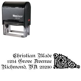 Self-Inking Teutonic Initial Address Rubber Stamp