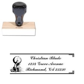 Man World Commercial Script Monogrammed Address Rubber Stamp