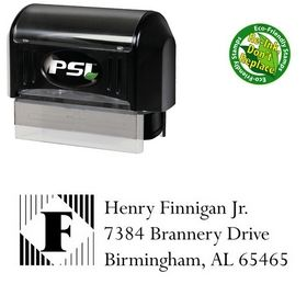 PSI Pre-Ink Lines Vertical Lapidary Inking Address Stamp